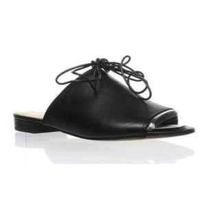 Sam Edelman Tai Black Leather Slides Ankle Laces